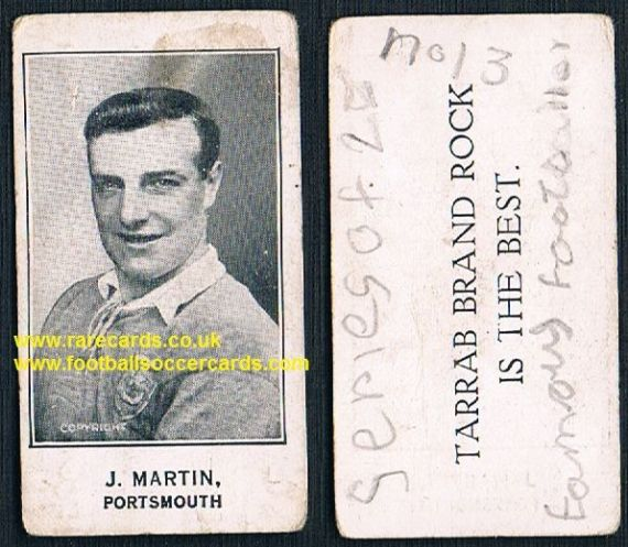 1926 J Martin Portsmouth Barratt's Tarrab Brand Rock card